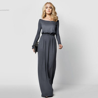 Hot Sale 2016 Long Sleeve Maxi Dress 4 Colors Vintage Elegant Dress For Evening Party Boat Neck Full Length Vestidos S-XL 41