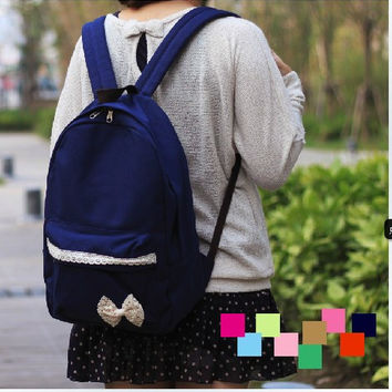 Bow canvas shoulder bag backpack schoolbag