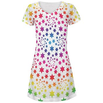 Rainbow Star Swirls Juniors V-Neck Beach Cover-Up Dress