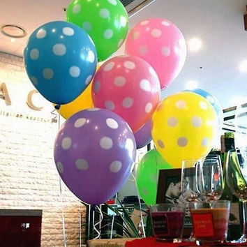 10x Latex Polka Dot Balloon Party Wedding Holiday Decorating (Color: Multicolor) = 1946354884