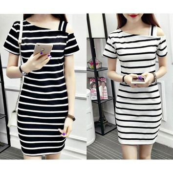 New word collar slanting shoulder cotton striped long dress off-shoulder short-sleeved slim slimming hip dress Black