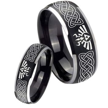 His Her Matte Dome Celtic Zelda Two Tone Tungsten Carbide Wedding Rings Set