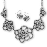 Oxidized Floral Fashion Necklace and Earring Set