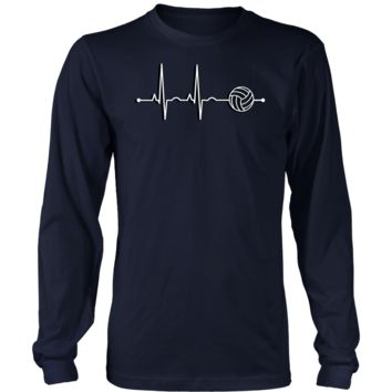 Men's Volleyball Heartbeat Long Sleeve T-Shirt - Sports Gift