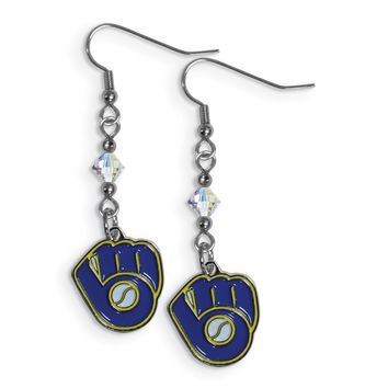 MLB Milwaukee Brewers Crystal Dangle Earrings