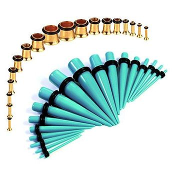 BodyJ4You Gauges Kit Aqua Tapers Gold Plugs Steel 14G-00G Stretching Set 36 Pieces