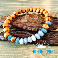 Beaded Larimar bracelet, boho hippie yoga jewelry