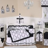 Black and White Princess Baby Girl Bedding 9pc Crib Set by Sweet Jojo Designs