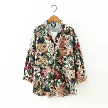 Floral Print Long Sleeve Pullover Shirt Blouse [8542247431]
