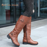 women casual Warm Snow boots Flat Riding Equestrian Shoes Winter Warm Women Mid Calf Boots plus size 35-43 zapatos mujer W259