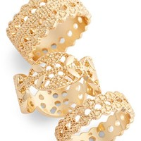 Women's Topshop Filigree Rings - Gold (Set of 3)
