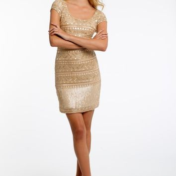 Cap Sleeve Beaded Dress with Open Back