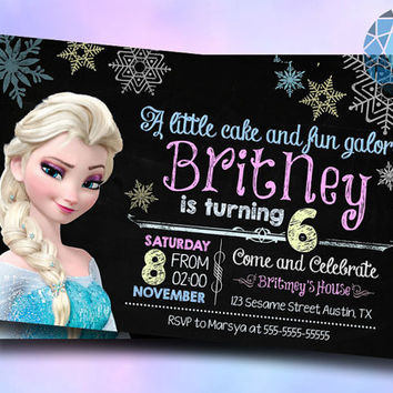 Chalkboard Queen Elsa Frozen Design For Digital File, Birthday Invitation by SaphireInvitations