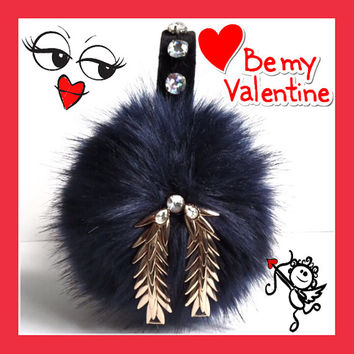 Embellished navy earmuffs, beaded faux fur earmuffs, OOAK ear warmers, plush ear muffs, fluffy earmuffs, OOAK gift for her