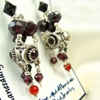 Garnet and Carnelian Gemstone and Crystal Silver Dangle Earrings | dianesdangles - Jewelry on ArtFire