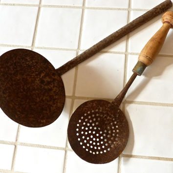 Rustic Primitive Handmade Metal Ladle and Strainer Spoon with Wood Handle Cabin-  Kitchen Decor // FunkAndMore Vintage Chic