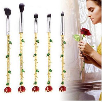 5pcs Harry Potter Beauty and the Beast Rose Flower Makeup Brushes Set Lip Eyes Brushes For Cosmetic Tools
