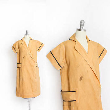 Vintage 1920s Wrap Dress - Yellow Canvas Work Wear Apron Smock - Large - Small