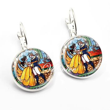 Fashion Accessories Beauty & Beast Earrings Glass Dome Rose Art Picture Jewelry Charm Handmade Gift 2017