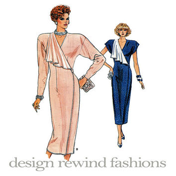 1980s Cocktail Evening Party Day Fitted Wrap DRESS Asymmetrical Draped Contrast Lapel Vogue 9805 UNCUT Vintage Sewing Patterns Bust 34 36 38