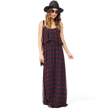 Plaid Halter Chiffon Loose Maxi Dress