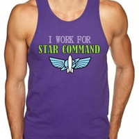 TANK TOP** I Work For Star Command - Men's - Buzz Lightyear Disney Toy Story Star Command space ranger printed graphic shirt