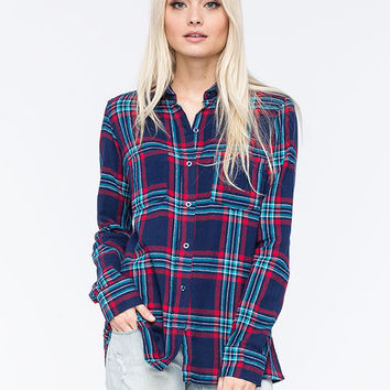 Derek Heart Womens Flannel Shirt Navy  In Sizes