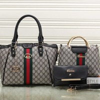 Gucci Women Leather Shoulder Bag Tote Handbag Clutch Bag Set Three Piece