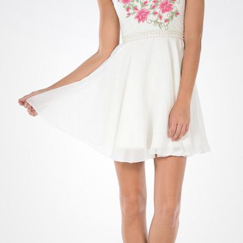 Ivory Illusion Pink Embroidered Bodice A-line Homecoming Dress Short
