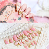 hotsale 24pcs/set pink white bow Glitter pearl rhinestone chain Nail Art False Fake Nail Tips Stickers With Glue