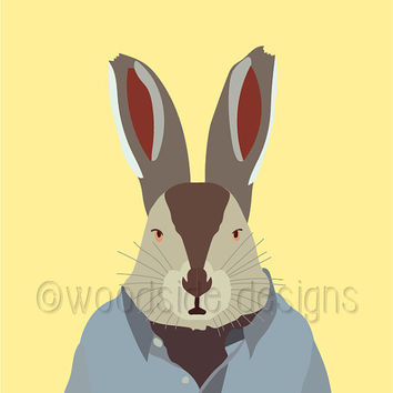 INSTANT DOWNLOAD Anthropomorphic Rabbit, Rabbit Portrait, Printable Wall Art, Rabbit Print, Nursery Art, Quirky Art Print, Human Animal Art