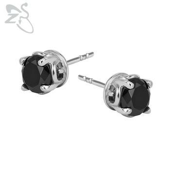 Black Cubic Zirconia Earrings Stud Surgical Steel Tragus Cartilage Ear Stud Piercing Female Mens Punk Jewelry Pendientes Hombre