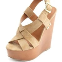 WOVEN FRONT SLINGBACK PLATFORM WEDGE SANDALS