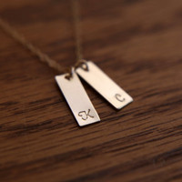 Personalized initial bar necklace - single or double tag