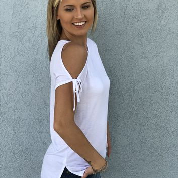 Basic Babe Cold Shoulder White Tee