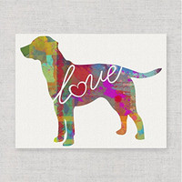 Lab / Labrador (Chocolate, Yellow, Black) Love - Modern & Whimsical 8x10 Dog Breed Watercolor-Style Wall Art Print / Poster on Fine Art Paper (Unframed)