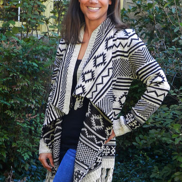 Cozy By The Fire Cardigan, Black/Ivory