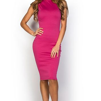 Samantha Fuchsia Bodycon High Neck Sleeveless Midi Dress