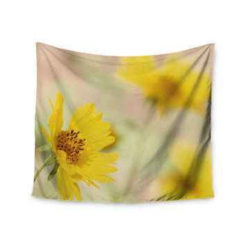 "Sylvia Coomes ""Abstract Yellow Flowers"" Green Photography Wall Tapestry"