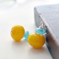 Sunny Day Yellow Glass Earrings on Sterling Silver by bstrung