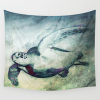 Flying Green Sea Turtle Wall Tapestry by Nirvana.K