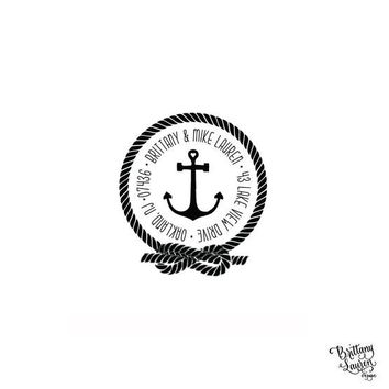 """Nautical Beach Personalized Custom Return Address Rubber Stamp or Self Inking - 2""""x2"""" - Knot Rope Anchor"""