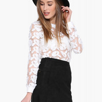 Casual Floral Lace Embroidered Long Sleeve White Shirt
