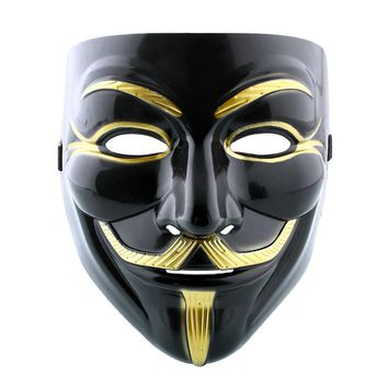 Vendetta Fawkes Anonymous Black Halloween Cosplay Fancy Costumes V Mask