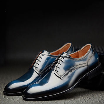 Handmade Genuine Leather Dress Derby shoes Brand Oxford