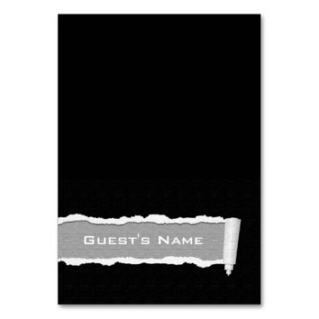 Customizable Torn Paper Tented Seating Place Card