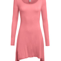 LE3NO Womens Lightweight Long Sleeve Tunic Dress with Stretch (CLEARANCE)