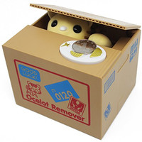 Decorative Kawaii Coin Saving Collecting Steal Money Bank Cute Gifts Yellow Cat Money Box YC