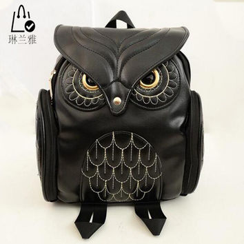 Fashion Women Backpack Newest Stylish Cool Black PU Leather Owl Backpack Female  Women shoulder bag school bags A07