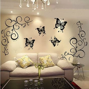 Home & Kitchen Butterfly and Vine DIY Removable Vinyl Decal Art Mural Home Decor Wall Stickers